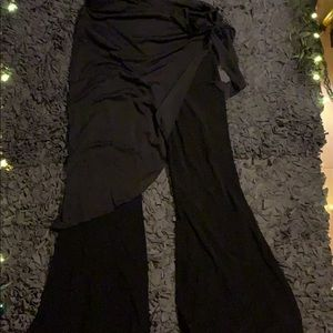 Great silky black wide pants with tie wrap waist
